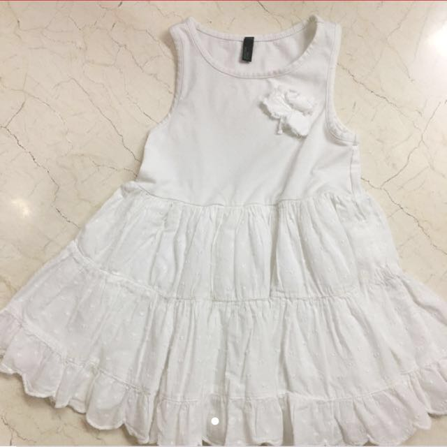 2-4Y Benetton White Floral Dress