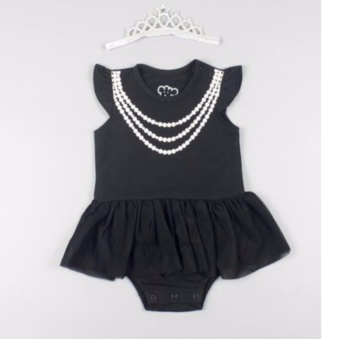 全新(3-6M)。奧黛麗赫本黑色雪紡蓬蓬裙連身衣