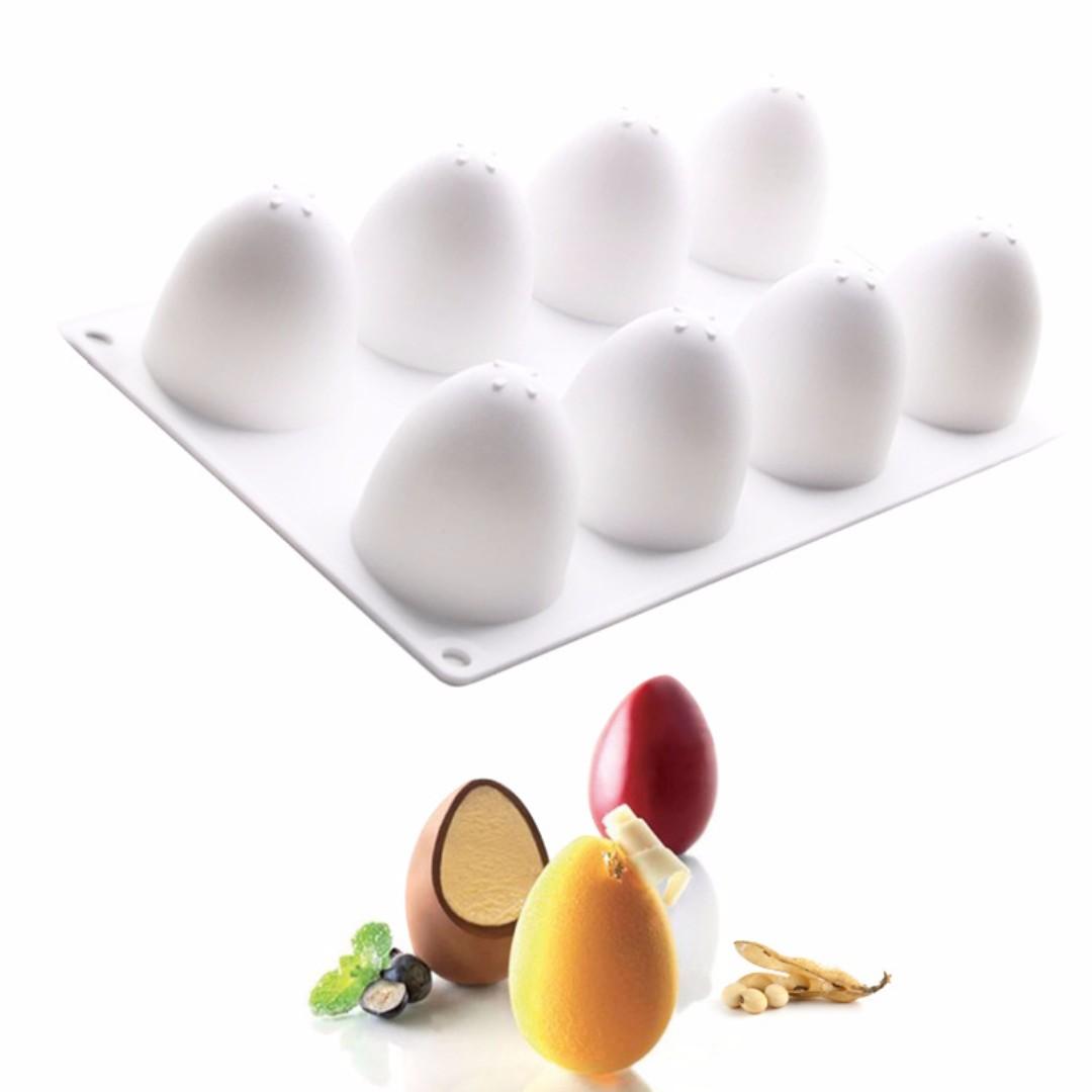 ▪8連▪法式立體蛋型淋面矽膠蛋糕模/慕斯模