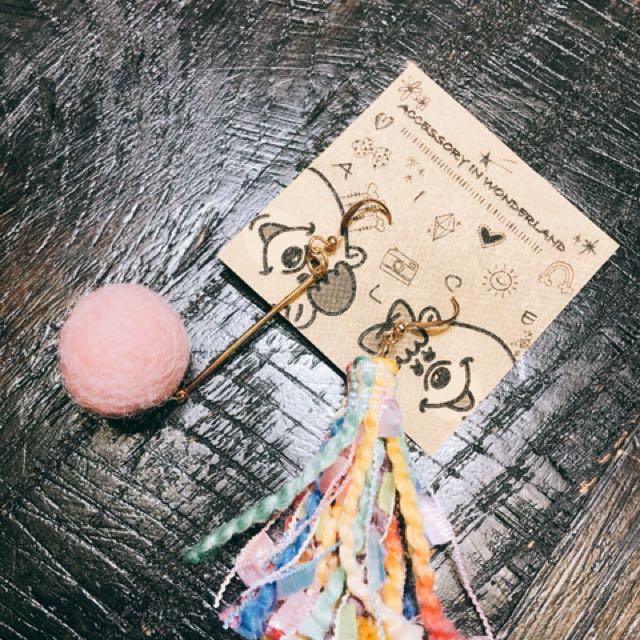 粉紅民族毛絨耳環