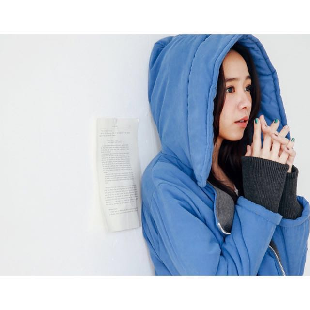 愛斯基摩厚鋪棉斜口袋外套/藍(闆娘二手私物)