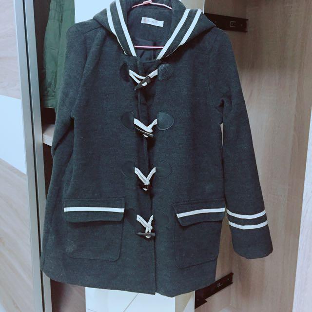 可愛條紋外刷毛牛角釦外套