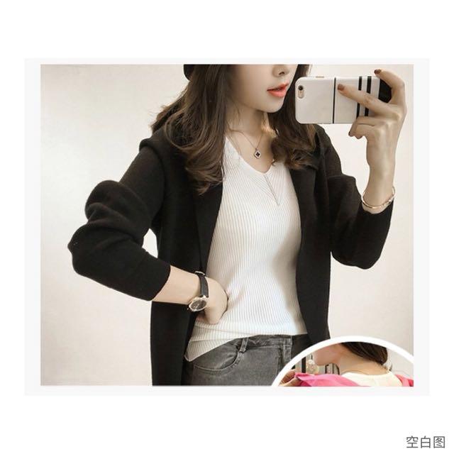 黑色顯瘦韓版連帽針織外套