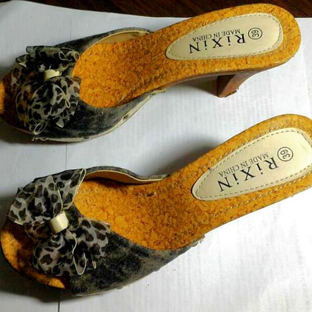 豹紋牛仔布高跟拖鞋 39號 Strapless High-heels 二手 便宜 出清