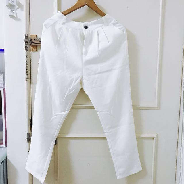 白色 不透西裝褲