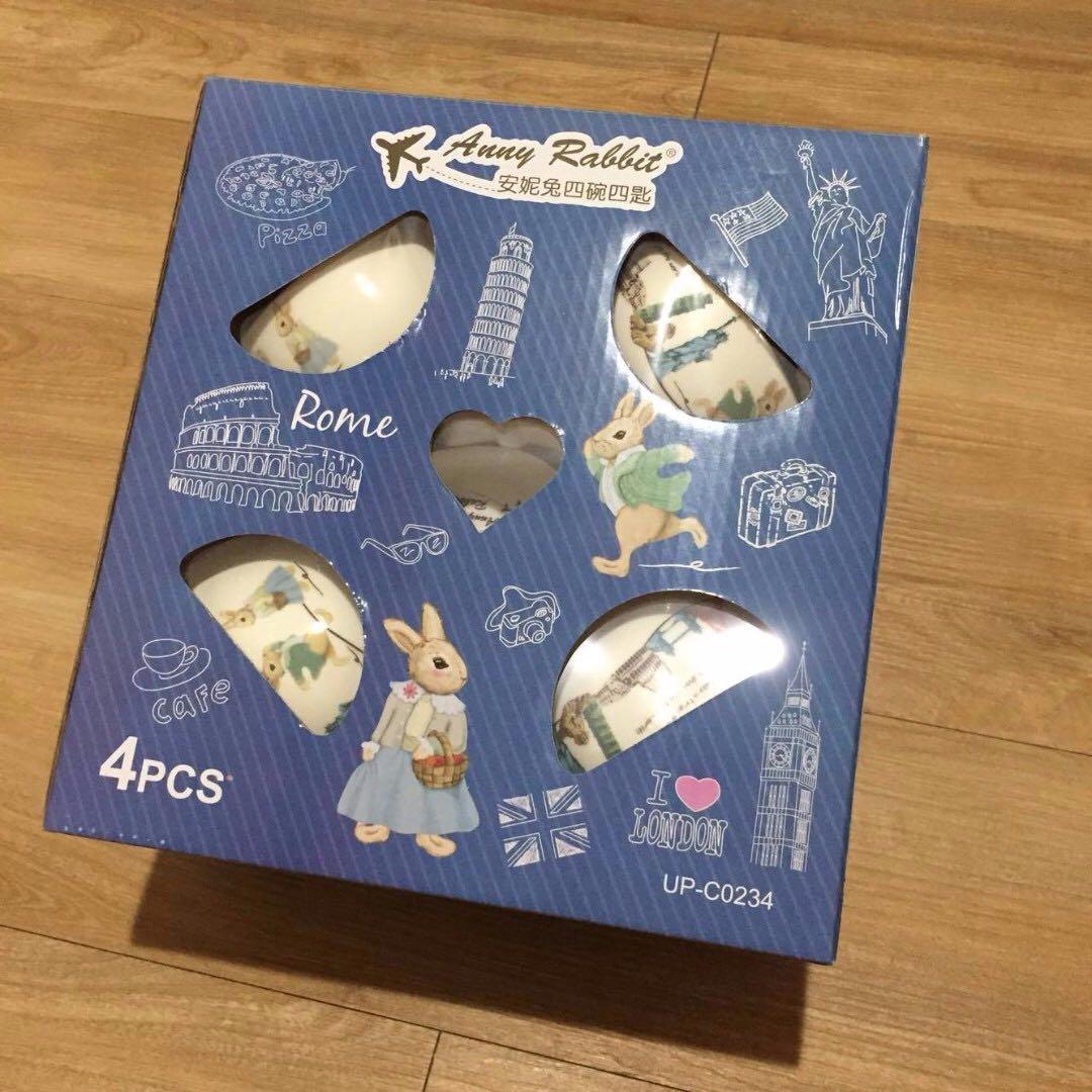 安妮兔四碗四匙 陶瓷餐具組 全新禮盒未拆