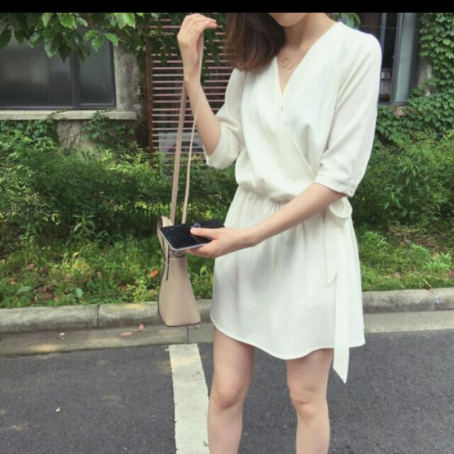 超美 全新 白厚雪紡洋裝