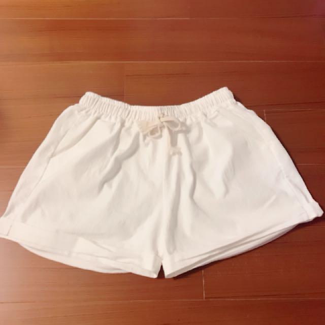 白色 短褲 綁繩式短褲 有口袋