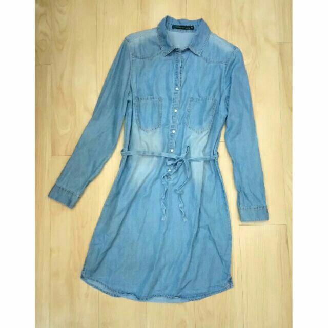 淺藍牛仔襯衫洋裝 長版襯衫 口袋 長袖 收腰綁帶 日系 經典 似zara mango asos款