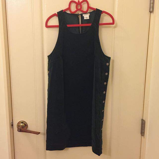 聖誕節特賣 美國UO購買 COOPERATIVE 兩側排釦燈心絨背心裙 貴族墨綠學院風 聖誕節穿著 聖誕跨年應景洋裝