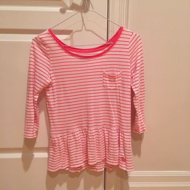 Abercrombie pink striped peplum top