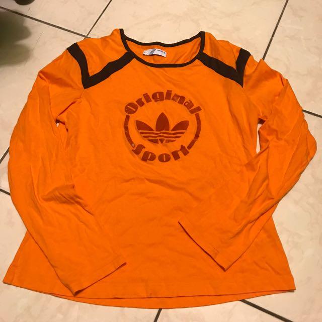 Adidas 復古款 橘色長袖上衣