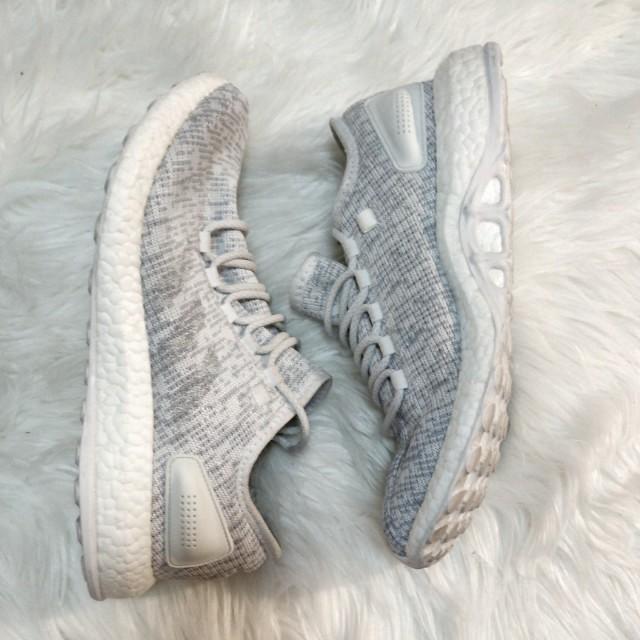 ADIDAS Pureboost Light Grey White - Size 8.5/42