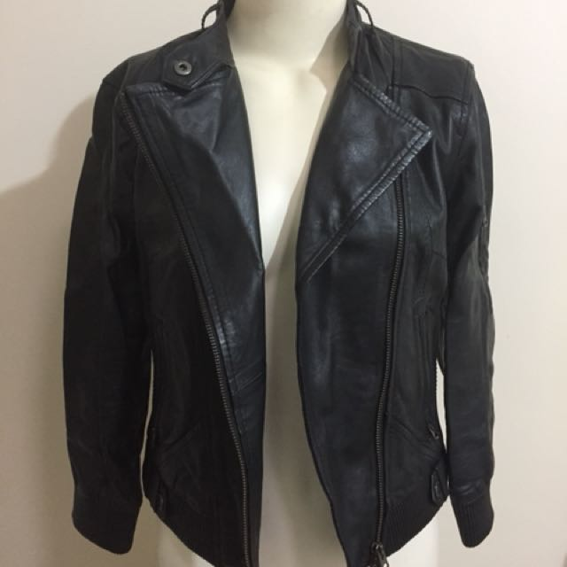 Armani Exchange Leather Jacket Black