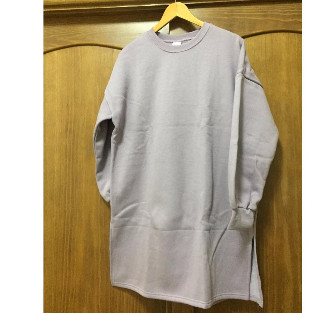 ASOBI 正韓 T恤 內刷毛 洋裝 紫色 F尺寸 大尺碼 賣場衣褲任選兩件以上免運