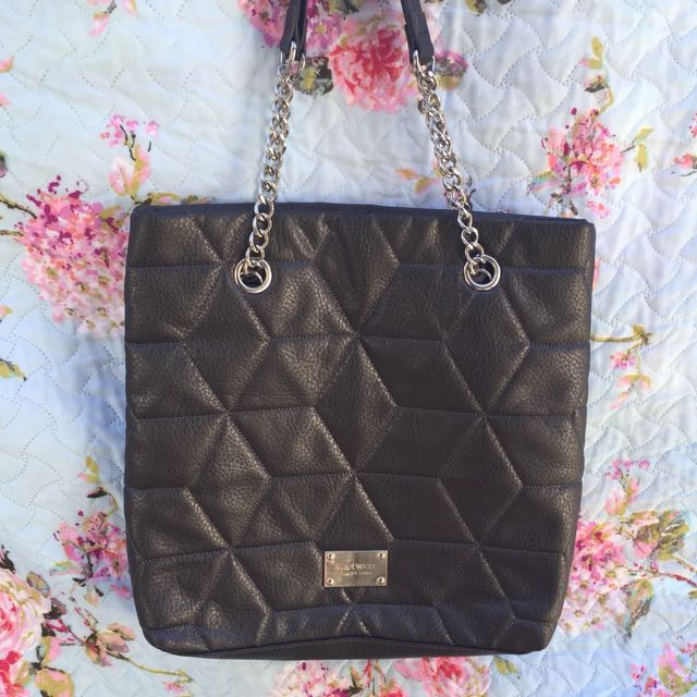 Authentic Nine West Metallic Charcoal Gray Quilted Tote Bag