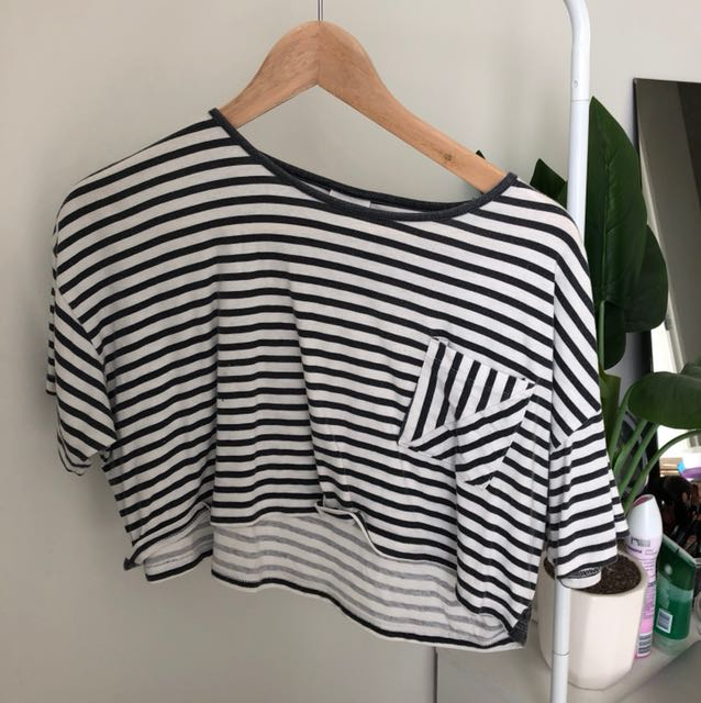 Black and white striped crop