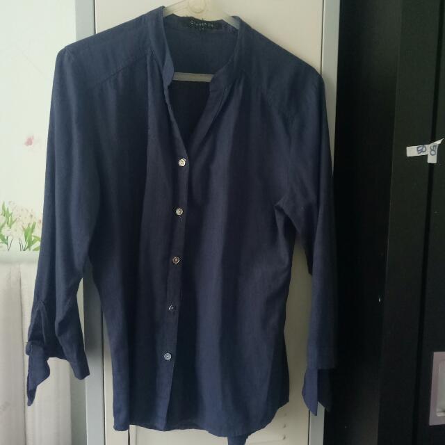 Blus Kemeja Warna Blue Jeans