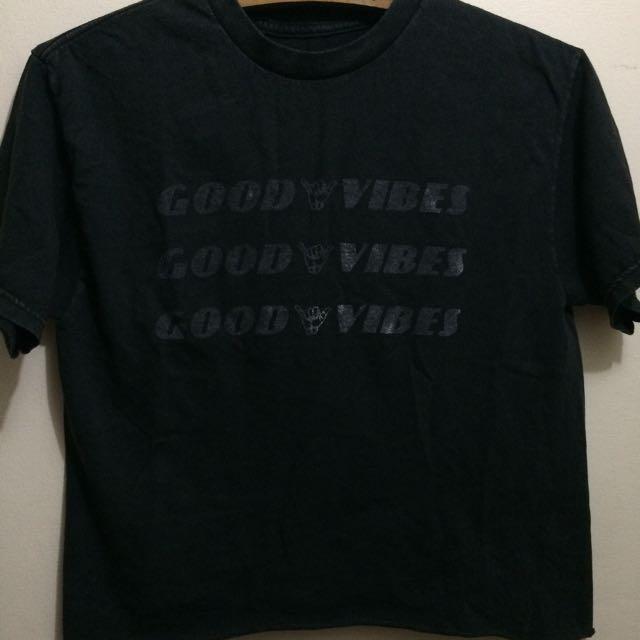 Bnwot Authentic Brandy Melville Black Good Vibes Semi Crop Top tshirt tee
