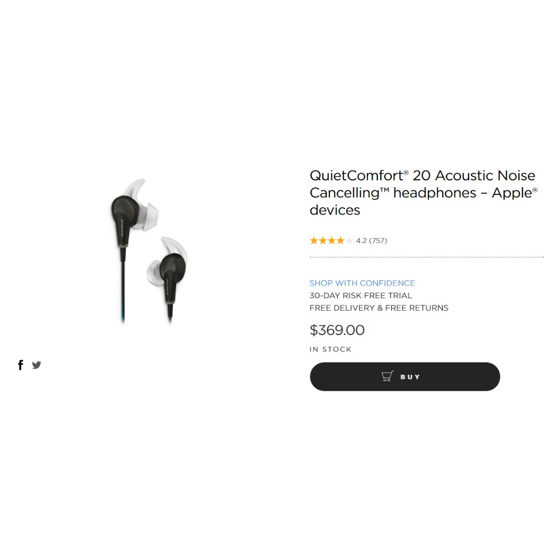 BOSE earphones Quiet Comfort 20 Acoustic Noise Cancelling ™ headphones – Apple ® devices