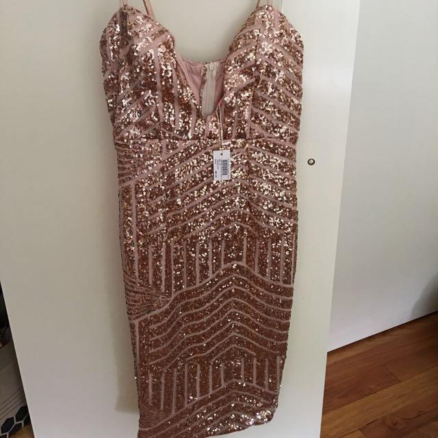 Brand new gold sequin midi dress
