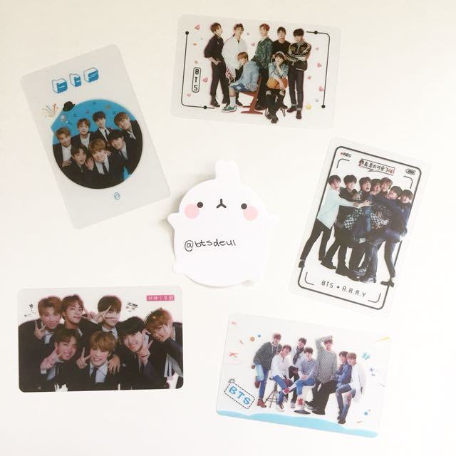 BTS group transparent photocards