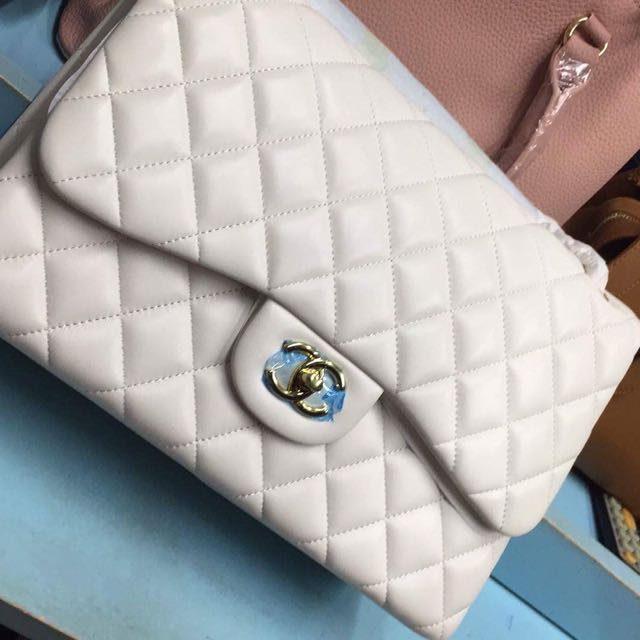 Chanel Classic Double Flapskin Pearl White