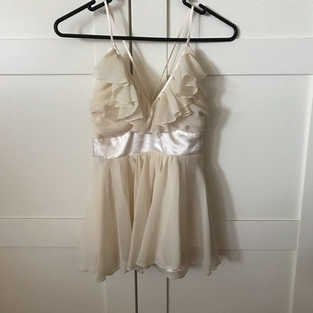 Cream Coloured Ruffled Top in Size 10