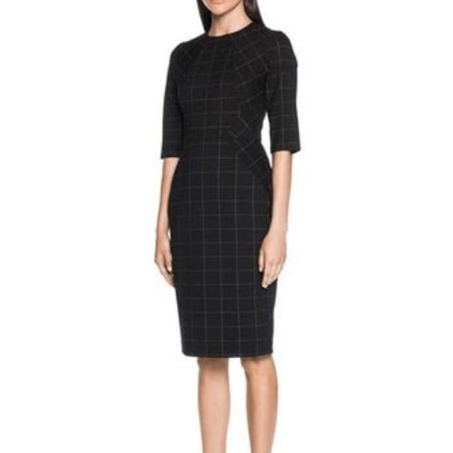 Cue C/TC Black Double Check Shift Dress