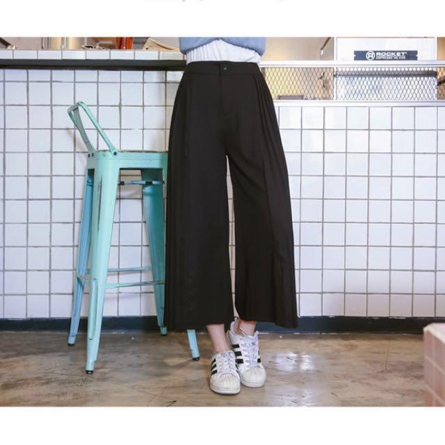 -Dan小舖- 百褶雪紡寬褲 褲裙 黑色M 東京著衣 Tokyo Fashion