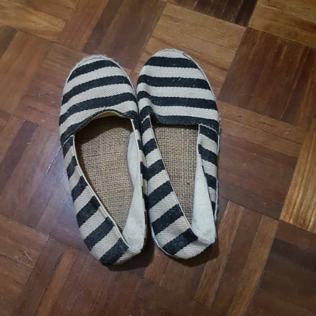 Doll shoes stripes blue