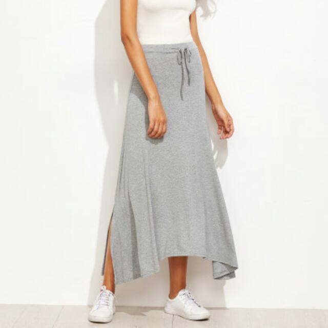 Drawstring Split Hem Asymmetrical Skirt Maxi