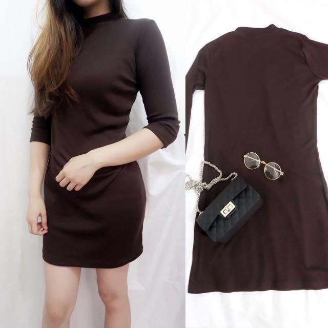 Dress coklat rajut korea