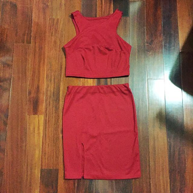 Elegant Red Top and Bottom Set