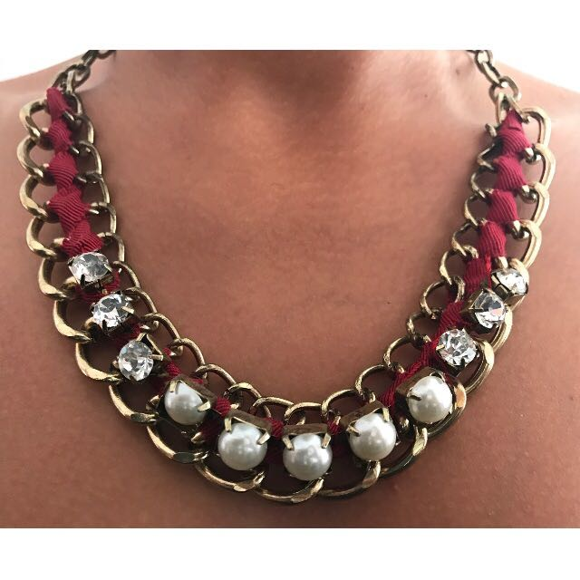 Equip Diamond, Ribbon and Pearl Rustic Necklace