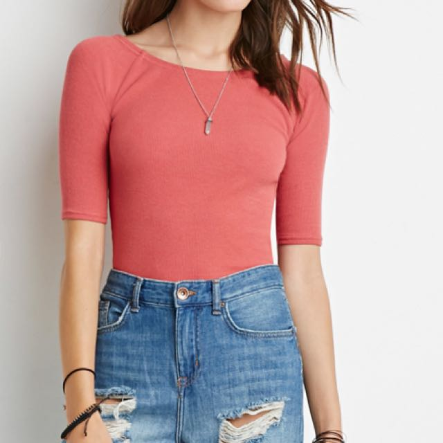 Forever 21 coral ribbed crop top