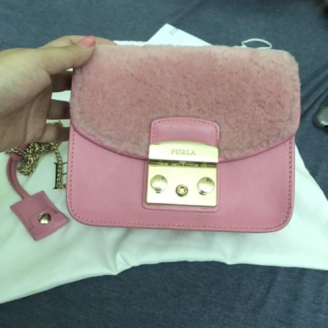 Furla 羊毛粉紅色包包