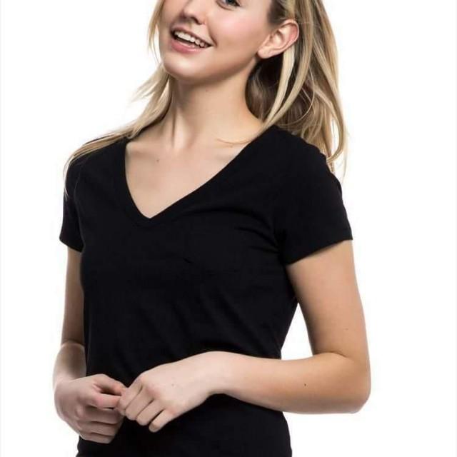 【全新】GAP純棉簡潔純色V領短袖T恤(黑)