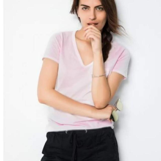 【全新】GAP純棉簡潔純色V領短袖T恤(淺粉)