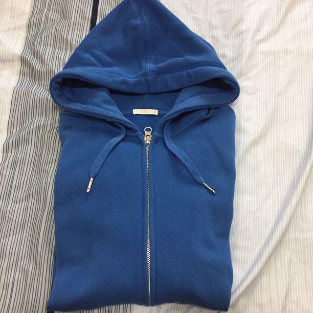 GU藍色棉外套