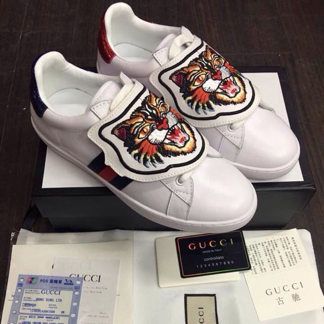 908ae6e3a Gucci Ace Tiger Patch Trainers Sneakers on Carousell