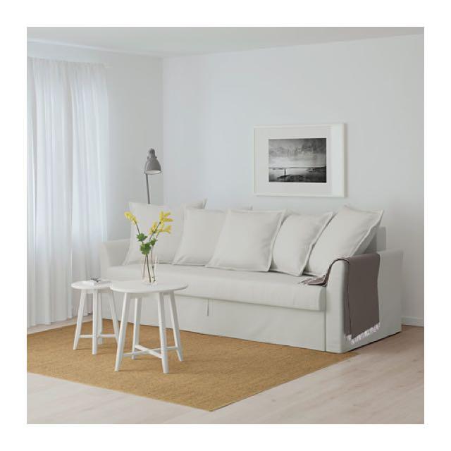 Holmsund Ikea Three Seat Sofa Bed Orrsta Light White Grey