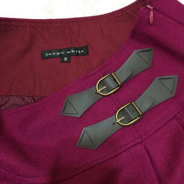 日本專櫃JAYRO 高貴紫紅色毛料百褶裙s號