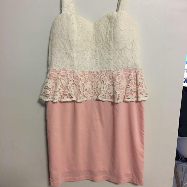 Knight Angel dress White lace & pink M