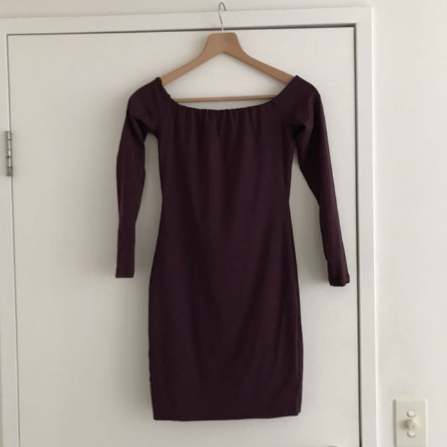 Kookai Deep Purple Of The Shoulder Dress