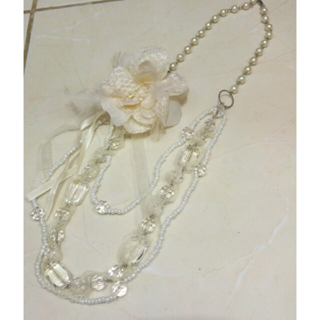 Korea pearl flowery lace necklace