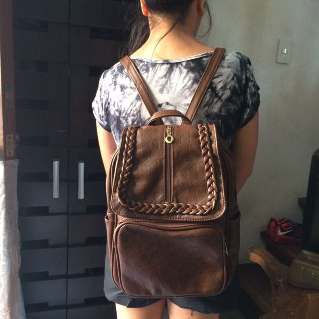 LEATHER FAUX BACKPACK
