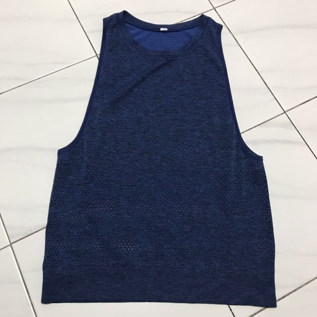 c95703d9b40110 Lululemon breeze by muscle tank cerulean blue black size 4