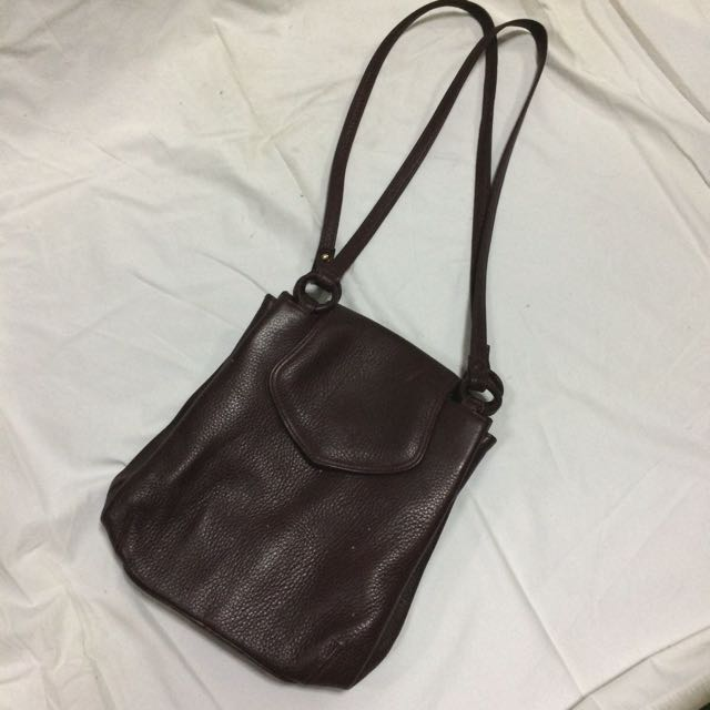 Maroon Leather Shoulder Bag