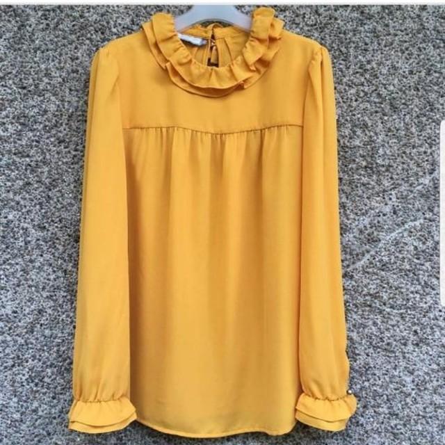 Mustard ruffled long sleeve top